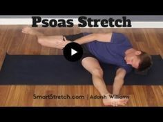 Psoas Stretch - No Painful Lunge Required! Muscle Stretches, Hip Stretches, Back Exercises, Fitness Workouts, Yoga Fitness, Psoas Iliaque, Psoas Stretch, Psoas Release, Psoas Muscle