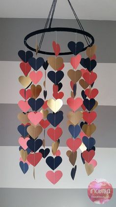 Heart shape paper mobile Navy coral and gold Baby room decoration Wedding decora. - Heart shape paper mobile Navy coral and gold Baby room decoration Wedding decoration Baby shower Ch - Coral Y Oro, Coral And Gold, Navy Gold, Home Crafts, Diy And Crafts, Crafts For Kids, Paper Crafts, Summer Crafts, Diy Décoration