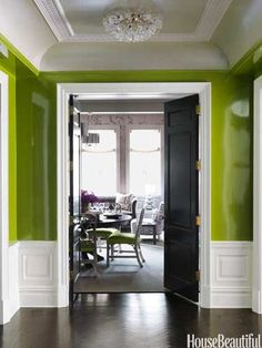 Entry. Design: Christina Murphy. Apple Green Lacquer Walls. housebeautiful.com #lighting