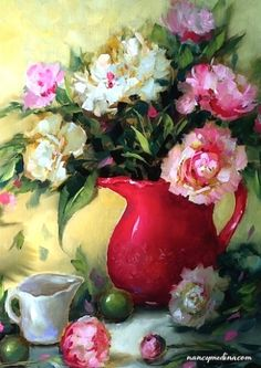 Holiday Pink Peonies - Flower Paintings by Nancy Medina, painting by artist Nancy Medina