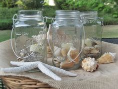Fun and Easy Summer Mason Jar Candles: more rustic than painted glass for the table runners :)
