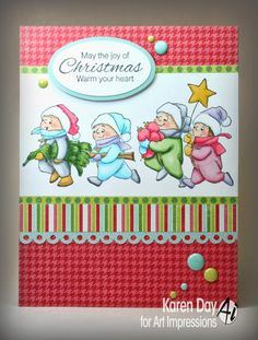 Art Impressions Rubber Stamps: Christmas Tots on the Go (Sku #3606).  Handmade Christmas card.