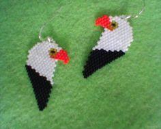 EAGLE earrings Delica beads Brick stitch by Beadedforu on Etsy