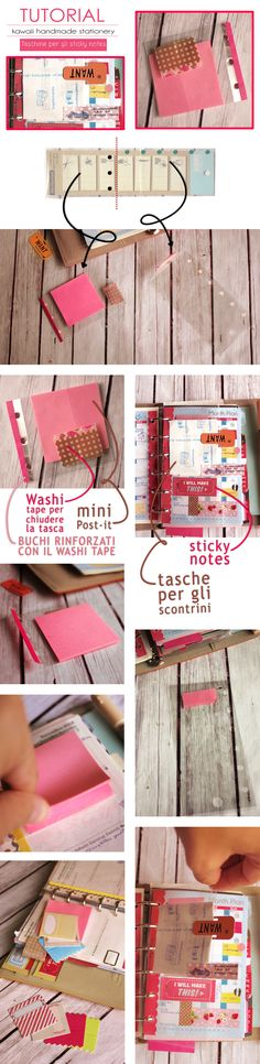 tutorial: pockets for filofax  #filofax #organiser #planner #tutorial #filofaxdiy #diy #filofaxtutorial #stickynotes #handmade #howto