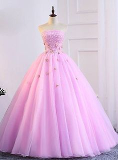 best=Pink Tulle Strapless Appliques Sweet 16 Quinceanera Dresses With Pearls Rose Dress Sweet 16 Dresses, Beautiful Prom Dresses, Cute Dresses, Poofy Prom Dresses, Ball Gown Dresses, Ball Gowns Prom, Quince Dresses, Formal Evening Dresses, Formal Prom