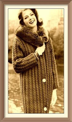 """Instant PDF Download Vintage Knitting Pattern to make a Ladies Aran Style Bulky Chunky Long Cable Cardigan or Coat with """"Fur"""" Collar"""