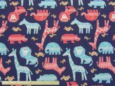ライオン、キリン、サイ、ゾウ、シマウマなど  サファリ柄コットンオックスプリント  110cm巾 綿100%  そーいんぐ・すていしょん コミニカ