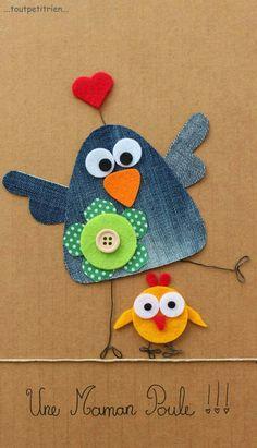 Une maman poule jeans recycle www toutpetitrien ch fleurysylvie Jean Crafts, Denim Crafts, Diy And Crafts, Crafts For Kids, Arts And Crafts, Artisanats Denim, Craft Projects, Sewing Projects, Kids Cards