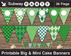 """INSTANT DOWNLOAD Printable Emerald Green Golf Theme Party Banner. 7"""" Big Party Banner  1"""" Mini Cake Bunting. Add Your Own Text / Photo DIY"""