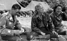 Socialising: On August 1944 a sergeant spends time with two members of the U. Women's Army Corps,the woman in the centre is Lt Col Anna 'Tony' Wilson, the WAC staff director for the Europe. She was 34 and commanded female troops Women's Army Corps, Battle Of Normandy, Colonel, Online Archive, History Images, Ww2 History, Waves, Military Life, Military History