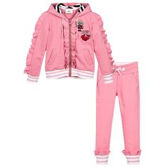 Fendi - Girls Pink Cotton Jersey Tracksuit   Childrensalon