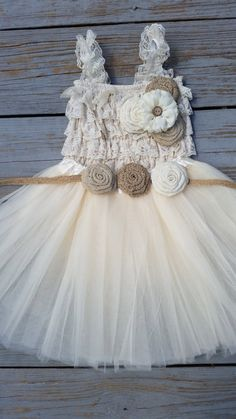 Rustic Flower Girl Dress -Cream/Ivory Tutu/Rustic Flower Girl/Country Flower Girl Dress -Lace Romper-Country Wedding-Vintage Wedding-Romper by CountryCoutureCo on Etsy