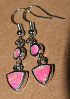 pink fire opal earrings Gemstone silver jewelry drop/dangle elegant E3CE #DropDangle