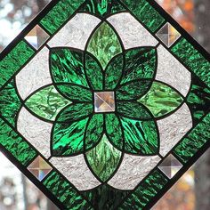 emerald green stained glass | Emerald Green Stained Glass Starburst Beveled by LivingGlassArt: