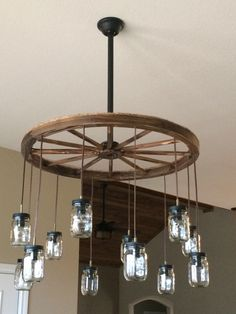 Marvelous Wagon Wheel Chandelier, Mason Jars