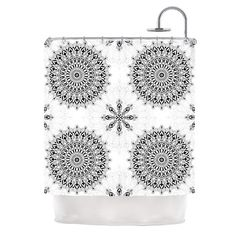 You'll love the Mandala by Julia Grifol Shower Curtain at Wayfair - Great Deals on all Bed & Bath  products with Free Shipping on most stuff, even the big stuff. #curtain #geometric #shower #mandala #blackandwhite #homedeco #bath #kessinhouse