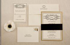 Gold, black, and white invitations