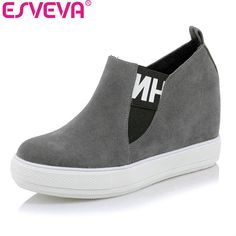 ESVEVA 2017 Wedges High Heel Platform Women Pumps Casual Flock Women Shoes  Slip on Western Style 29a6d13ced4a