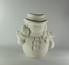Ceramic Bisque Snowman and baby ready to paint
