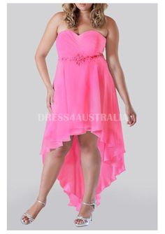Cheap and Australia Asymetrical Pink Chiffon Plus Size Evening Dress / Prom Dresses from Dresses4Australia.com.au
