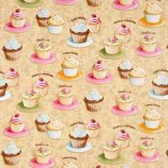 "cute fabric with many colourful cupcakes from the USA by Lisa Audit, by Robert Kaufman, Collection ""Confections"", cotton, smooth cotton fabric fabric Love Cupcakes, Yummy Cupcakes, Cherry Cupcakes, Cupcake Art, Paper Cake, Robert Kaufman, Fabric Squares, Printable Paper, Diy Craft Projects"
