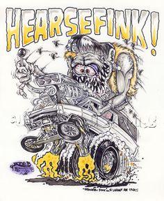 Johnny Ace Original Art Rat FINK ED Big Daddy ROTH FRANKENSTEIN Hearse MONSTER! #JohnnyAceStudios