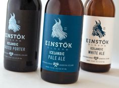 "Einstök is an Icelandic beer which has White Ale, Pale Ale and Toasted Porter. Einstök translated means ""unique"" which pretty much summaries the country where once Vikings roamed around. Beer Packaging, Beverage Packaging, Packaging Design, Product Packaging, Icelandic Beer, Beer Label Design, Beer Brands, Best Beer, Ale"