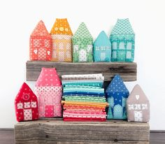 Rainbow Village with Prim fabric by Top US sewing blog Ameroonie Designs: image of stuffed fabric houses. Fabric Houses, Sewing Blogs, Applique, Rainbow, Create, Happy, Projects, Design, Home Decor
