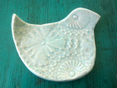 Turquoise  Bird Spoon Rest  Soap Dish  Jewelry by ShoeHouseStudio, $8.00