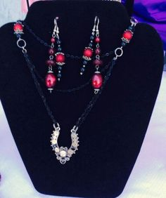 Vintage Goth Deep Set Pendant Necklace & Matching Earrings  #Billie #black #chainlink #Earrings #makeitaset #Morse #Necklace #Red #rhinestone #rock-a-billie'slost&found