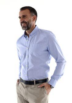 """Chemise pour Homme en tissu Oxford bleu - """"Premier Cru"""" - du M au 3XL - Manches longues - Hanjo, le vestiaire des épicuriens : https://hanjo.fr Idée Cadeau Noël"""