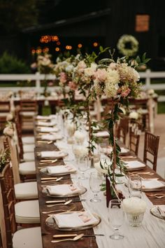 "Tall centerpieces make such a nice statement, giving tables that extra ""oomph""! Secret Garden Glamour Cedarwood Wedding 