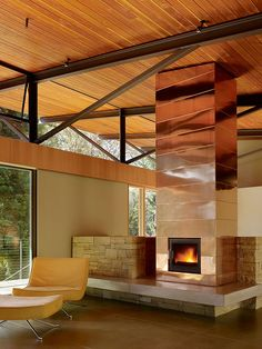 Copper clad fireplace - Sonoma Mountain House by Nielsen Schuh Architects