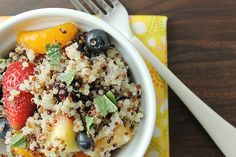 Quinoa Fruit Salad with Honey Lime Vinaigrette%0A