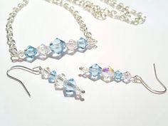 Bar Necklace Set Swarovski Crystal Sterling Silver Ice Blue Handmade Gift For Women