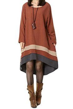 Generic Women's Long Sleeve Dress Autumn Clothing With Hi-Low Hem Generic http://www.amazon.com/dp/B00Q34Q65K/ref=cm_sw_r_pi_dp_-IsDub0AMR00P