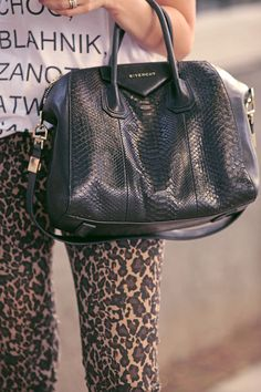 leopard pants. shirt. and bag. perfect combo