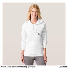Blue & Gold Hawaii State Map Hoodie - Fashionable Women's Hoodies and Sweatshirts By Creative Talented Graphic Designers - #hoodie #sweatshirt #fashion #design #fashiondesign #designer #fashiondesigner #style