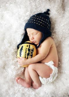 Newborn photo university of Michigan football  Go Blue