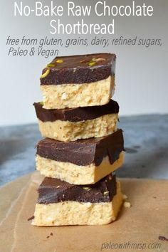 No Bake, Raw, Vegan Chocolate Shortbread. Simple to make and tastes better than the real thing. Sugar free, dairy free, gluten free, grain free and Paleo too.