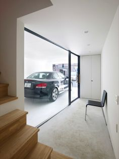 great comprimise to the full glass garage, just one glass wall to admire your cars Design Garage, House Design, Carport Garage, Garage Doors, Cool Garages, Japanese House, Small Living, Architecture Design, Minimalist