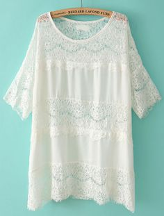 White Half Sleeve Loose Lace T-Shirt