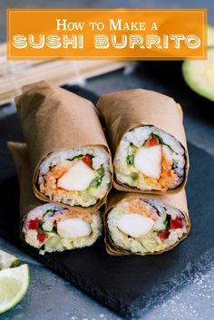 Two amazing foods combine to make something even better in this sushi burrito recipe + video! This easy version has surimi, guacamole, and sriracha mayo. Sushi Comida, Sushi Sushi, Sushi Taco, Sushi Wrap, Healthy Sushi, Sushi Fillings, Sushi Burrito, Burrito Burrito, Sandwich Bar