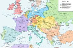 Europe in 1867, after the formation of the North German Confederation and the Austro-Hungarian Compromise.