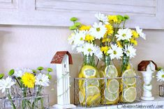 Spring decor with Milk bottle Vases, Lemons and Daisies