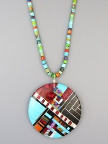 Santo Domingo Mosaic Inlay Heishi Necklace by Ronald Chavez