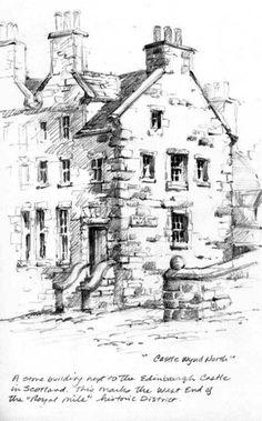 Drawing Pencil Pencil sketchbook drawing near Edinburgh Castle - Sketchbook Drawings, Pencil Art Drawings, Art Sketches, Building Sketch, Building Art, Landscape Sketch, Landscape Drawings, Art Folder, Urban Sketching