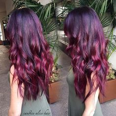 Burgundy ombre hair color style, nice hair look for this season