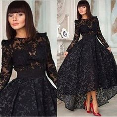 2015 Black Long High Low Evening Dress Crew Neck Long Sleeve Lace Party Special Occasion Dresses Prom Gown