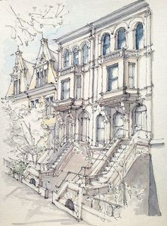 Townhouses - James Anzalone / 8th Avenue between Garfield and 1st Street. Morning sketch on a beautiful spring day. Park Slope, Brooklyn.